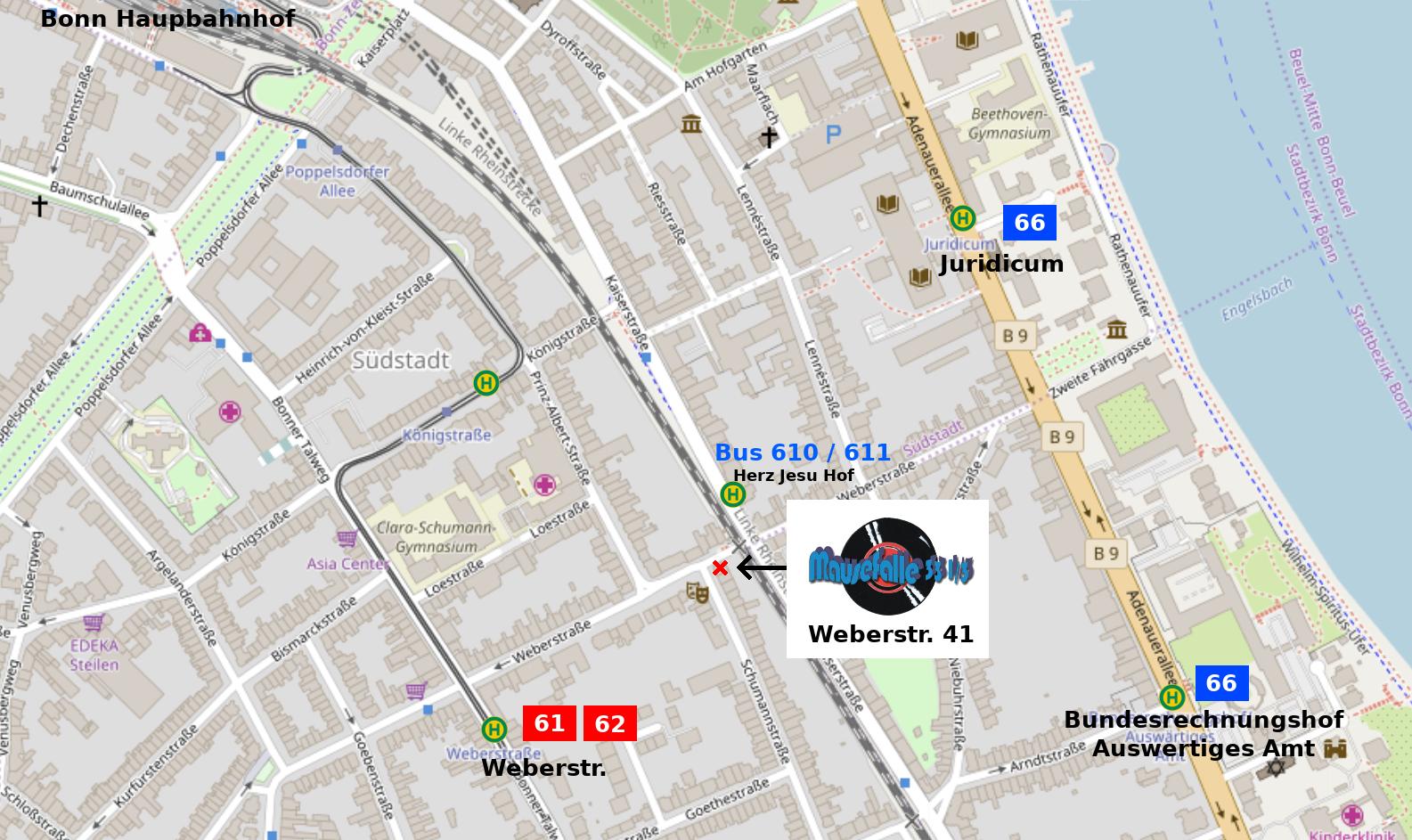 Die Mausefalle in der Weberstraße ist ca 500m vom Hauptbahnhof entfernt. Naheliegende Haltestellen: Straßenbahn 61, 62 Weberstaße, U66 Juridicum, fast vor Tür hält die Buslinien 610, 611, Haltestelle Herz Jesu Hof